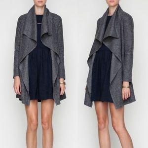 Nasty Gal Draped Wool Collar Gray Open Trench Coat